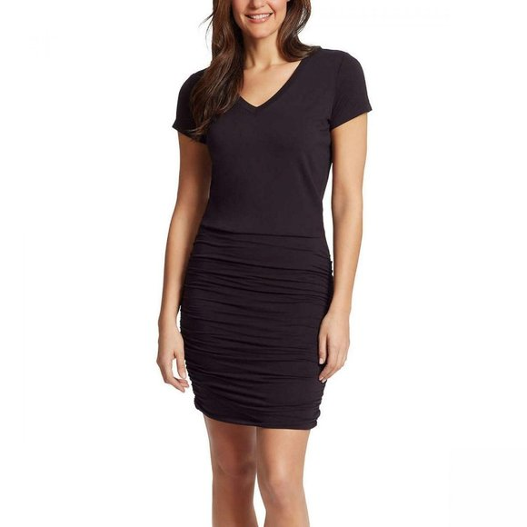 NWT Jessica Simpson Ruched Dress Large Black